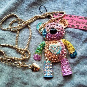 Betsey Johnson pastel teddy bear NWT necklace